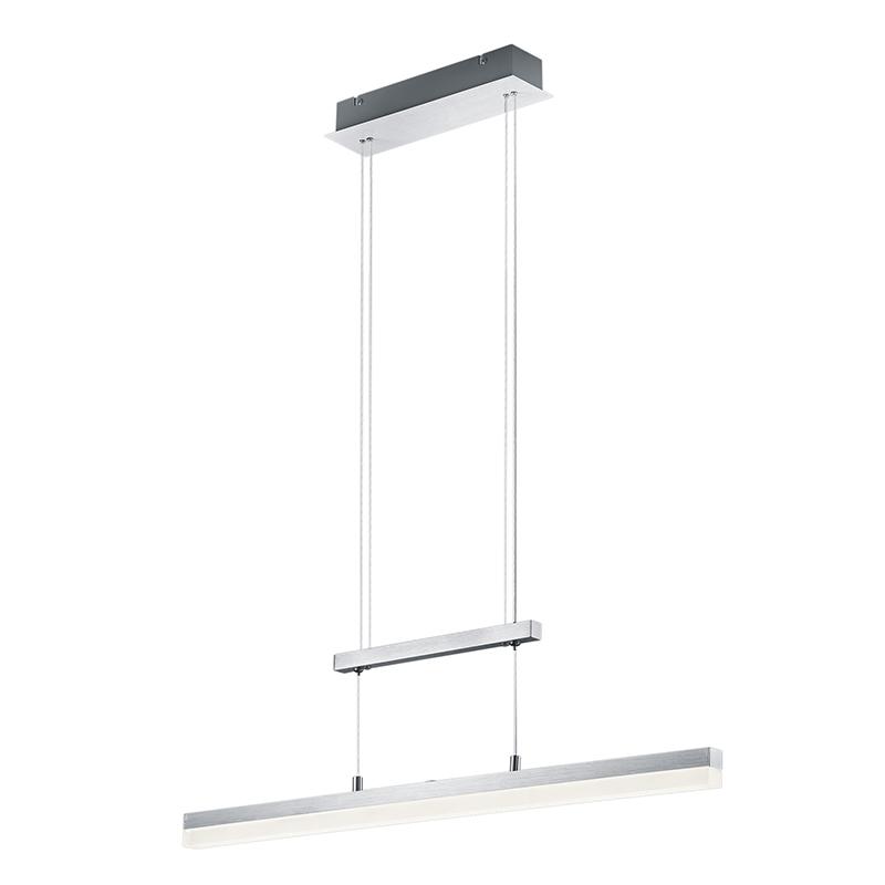 Moderne langwerpige hanglamp geborsteld aluminium incl. LED - Calvaro