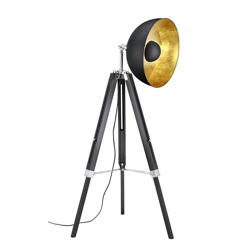 Vintage ronde spot vloerlamp mat zwart goud met driepoot - Magna