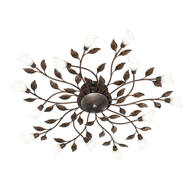 Landelijke ronde plafondlamp roestkleur antiek incl. LED - Reposa