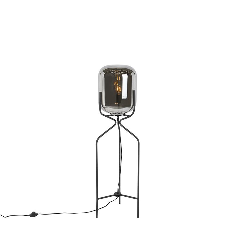 Design rechte vloerlamp zwart met smokey glas - Bliss