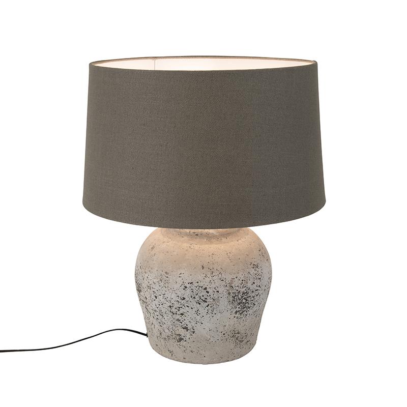 Landelijke ronde keramieke tafellamp grijs met bruine kap - Tamara