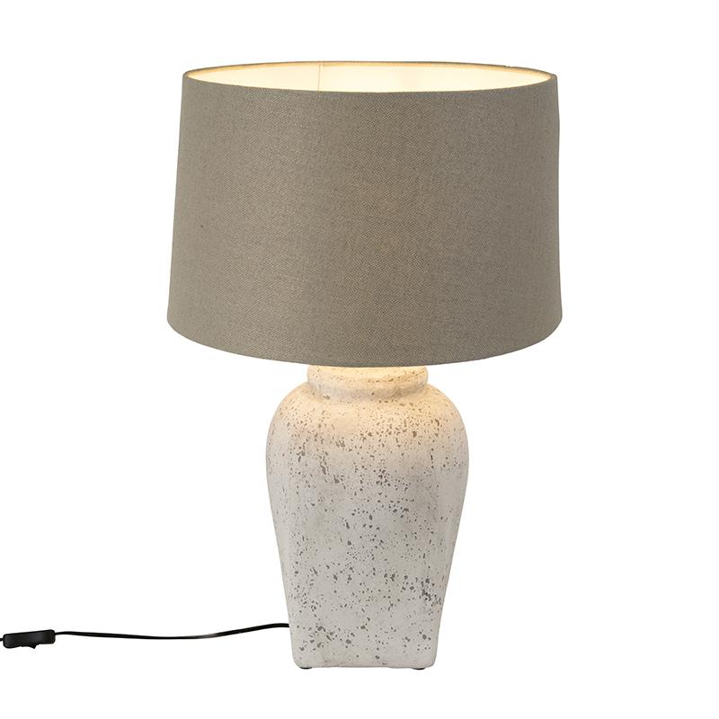 Landelijke ronde keramieke tafellamp grijs met grijze kap - Timmy