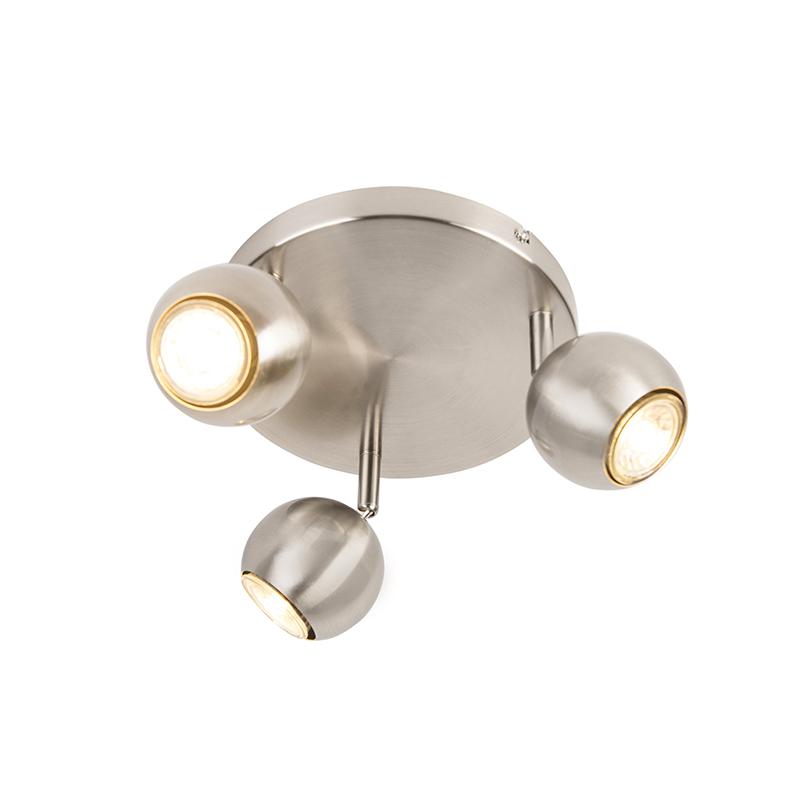 Retro ronde spot staal met ronde plafondplaat 3-lichts - Gissi