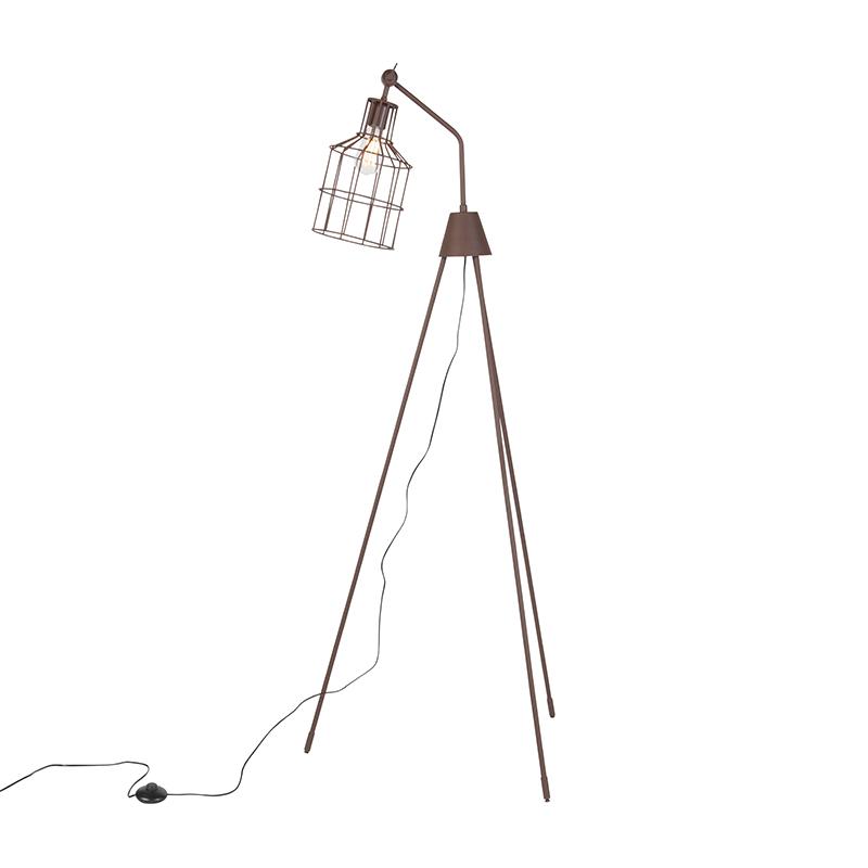 Industriele vloerlamp met driepoot bruin - Wanda