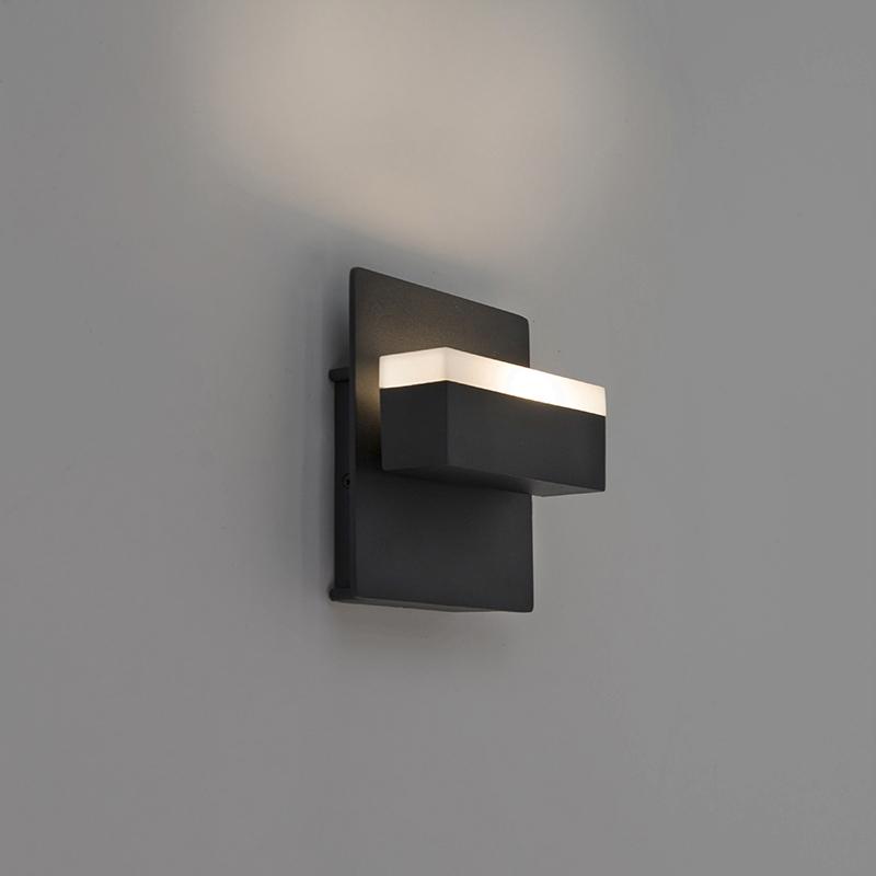 Moderne rechthoekige buitenwandlamp zwart incl. LED - Prim