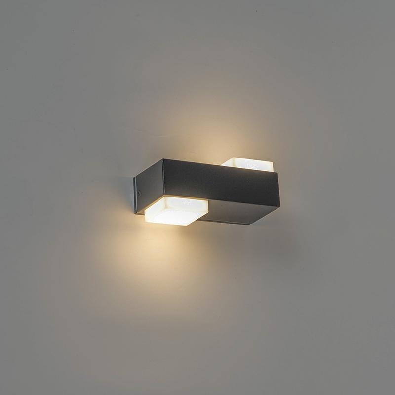 Moderne rechthoekige buitenwandlamp zwart incl. LED met 2 lichtpunten - Prim