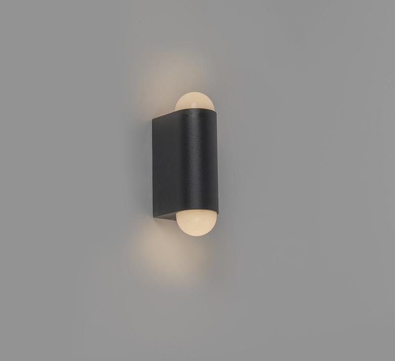 Moderne buitenwandlamp zwart incl. LED met 2 lichtpunten - Prim