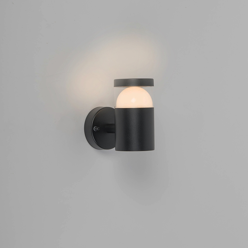 Moderne ronde buitenwandlamp zwart incl. LED - Prim