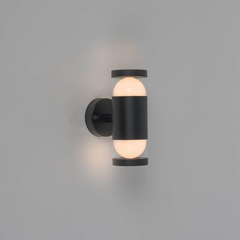 Moderne ronde buitenwandlamp zwart incl. LED met 2 lichtpunten - Prim