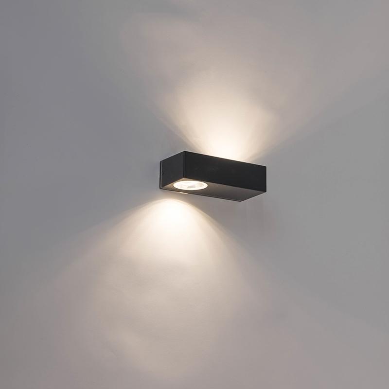 Moderne langwerpige buitenwandlamp zwart incl. LED - Jens