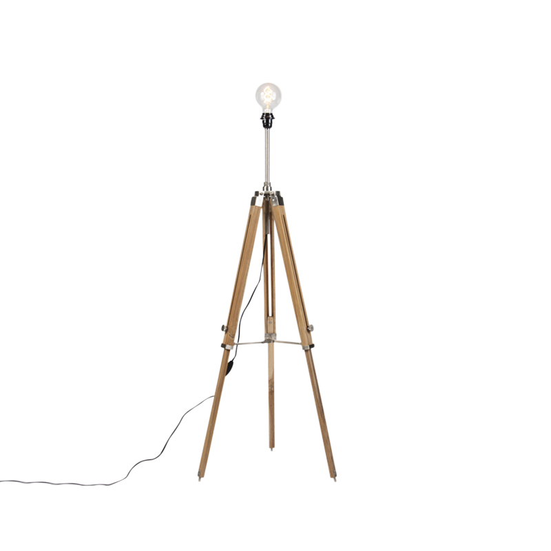 Landelijke vloerlamp driepoot teak met staal - Cortin