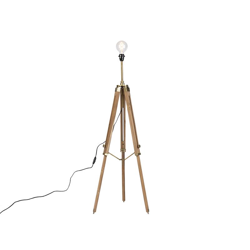 Landelijke vloerlamp tripod hout met antiek messing - Cortin