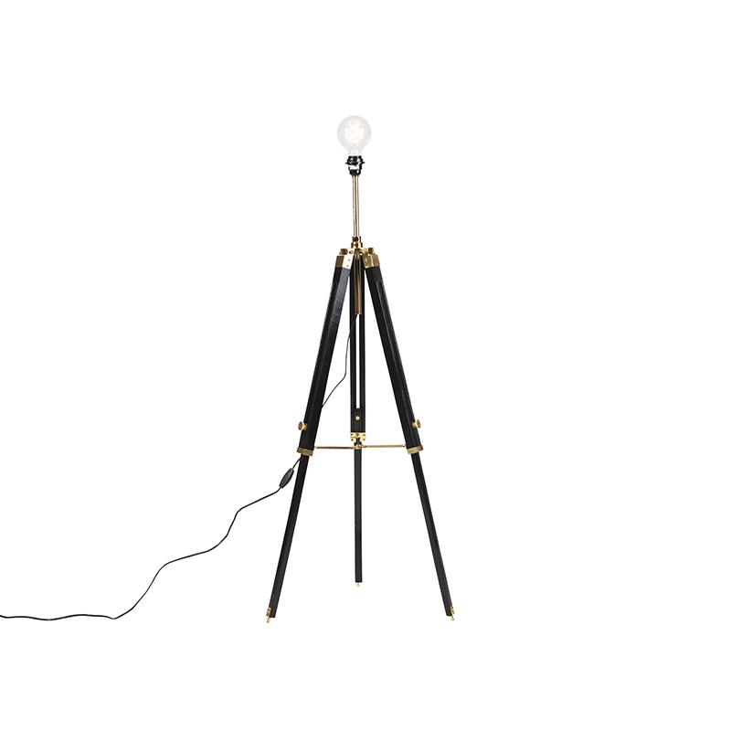 Landelijke vloerlamp tripod zwart met goud - Cortin