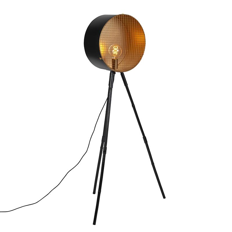 Vintage vloerlamp op bamboo driepoot zwart met goud - Barrel