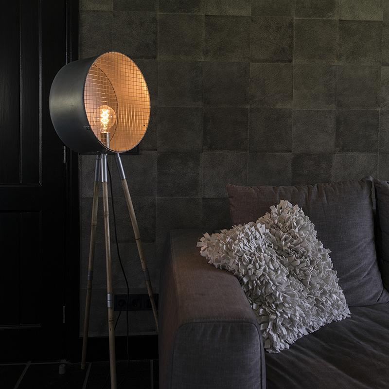Industriële vloerlamp grijs tripod - Barrel
