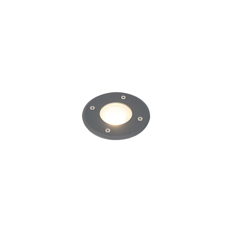 Moderne ronde grondspot donkergrijs 12,5cm - Basso