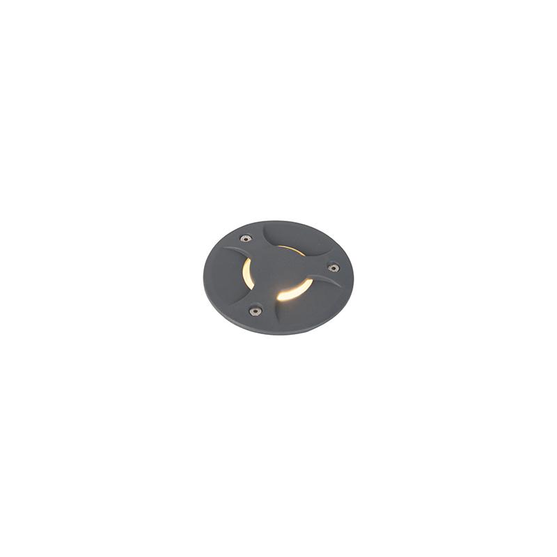 Moderner runder Bodenstrahler dunkelgrau 12,5 cm indirektes Licht - Basso