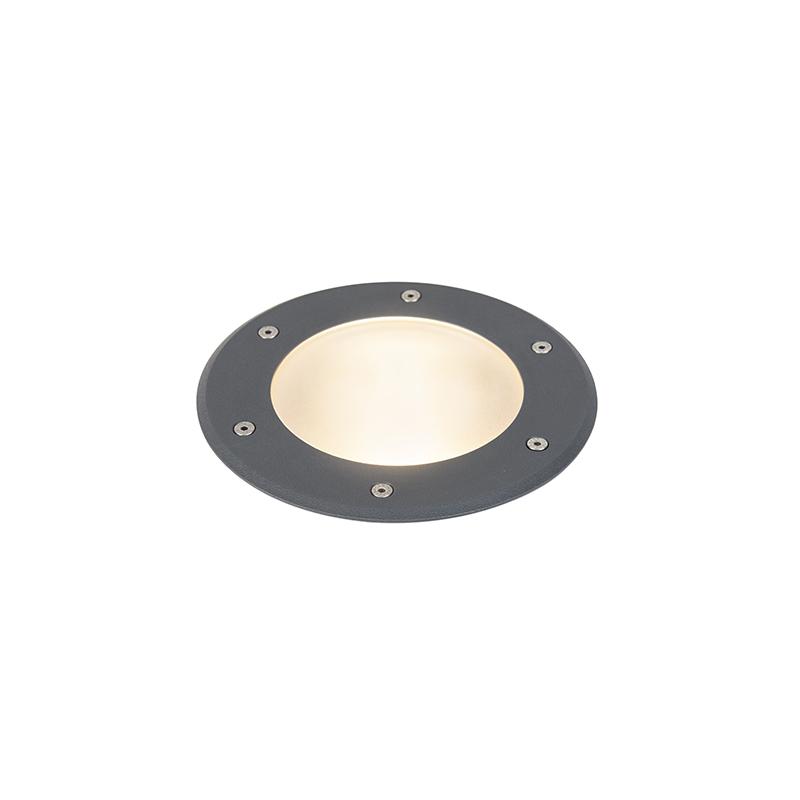 Moderne ronde grondspot donkergrijs 19cm - Basso
