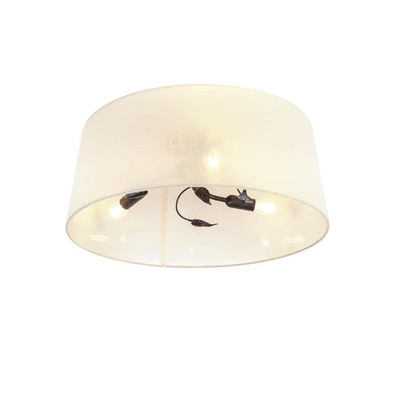 Art Deco Ronde Plafondlamp Roestkleurig Met Creme Kap 3-lichts - Soprano