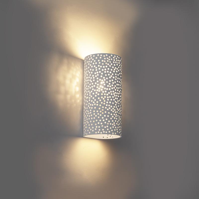 Vintage cilindervormige wandlamp wit gips - Mahou