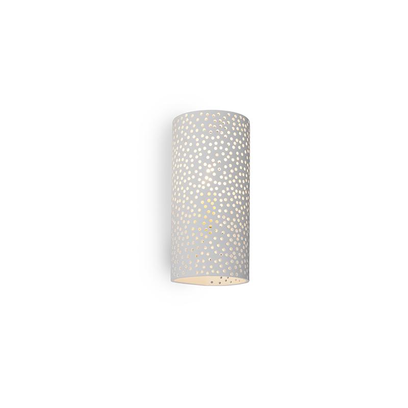 Vintage cylindryczny kinkiet biały gips - Mahou
