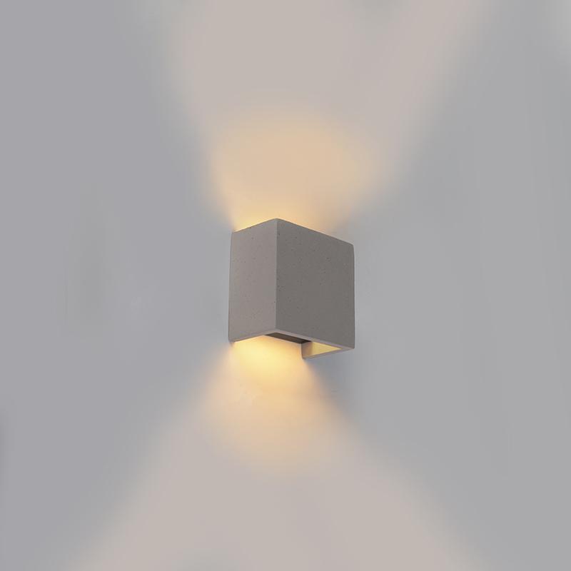 Industriele vierkante wandlamp grijs beton - Meave