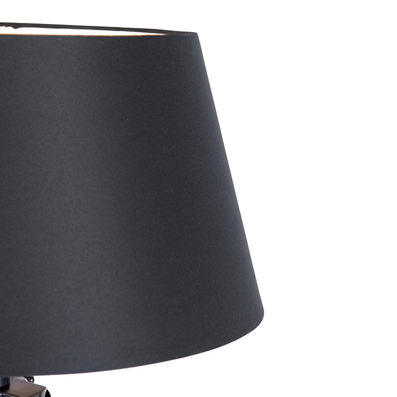 Industriële vloerlamp op houten driepoot met zwarte kap Rio