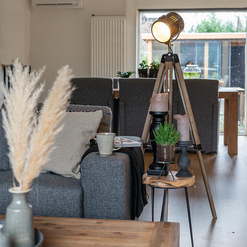 Industriële vloerlamp tripod hout met studiospot - Braha