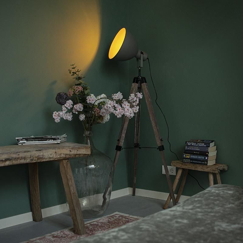 Industriële vloerlamp op houten tripod met grijze kap - Laos