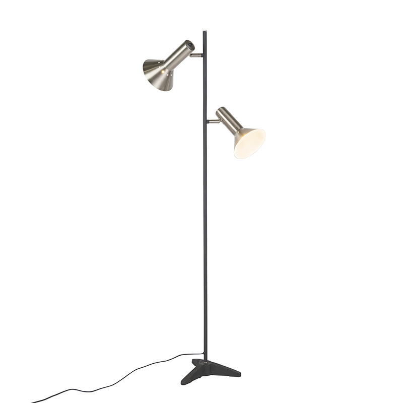 Moderne vloerlamp staal 2-lichts - Speaker