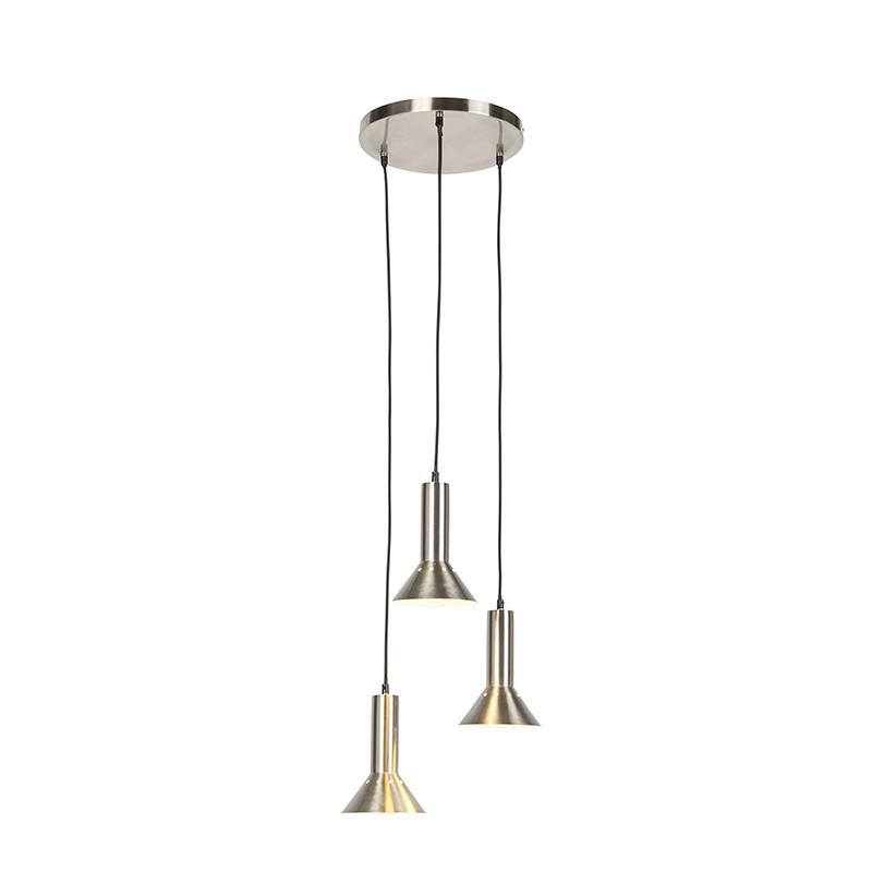 Moderne hanglamp staal 3-lichts - Speaker