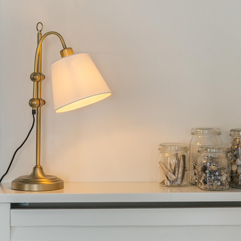 Klassieke tafellamp brons met witte kap - Ashley
