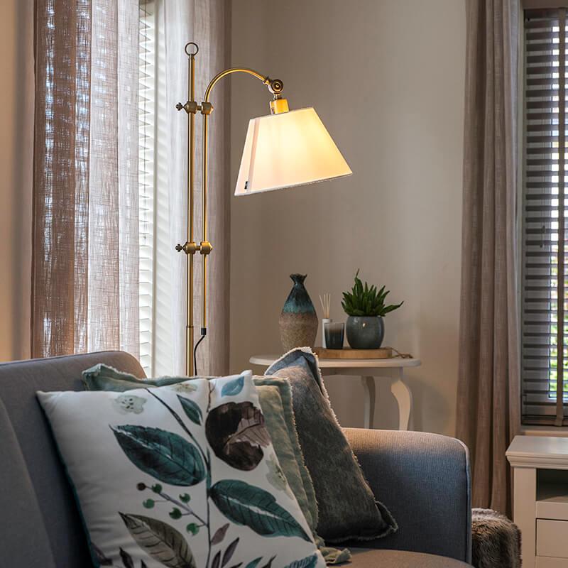 Klassieke vloerlamp brons met witte kap - Ashley