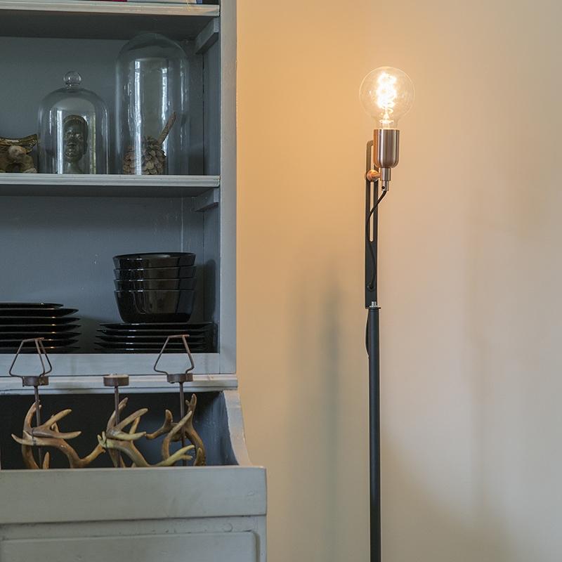 Moderne strakke vloerlamp zwart met koperen accenten - Slide