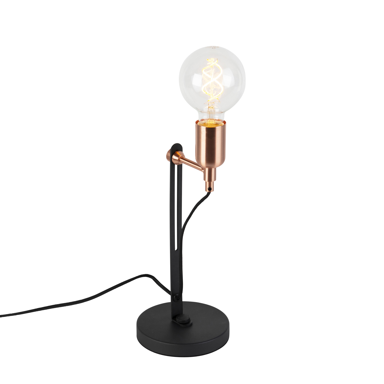 Moderne strakke tafellamp zwart met koperen accenten - Slide