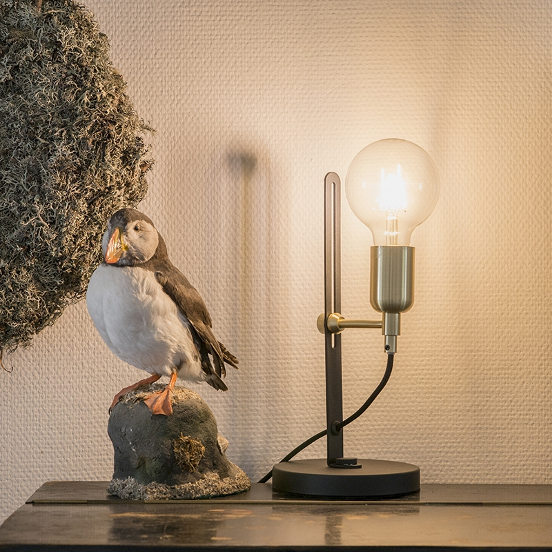 Moderne strakke tafellamp zwart met messing accenten - Slide