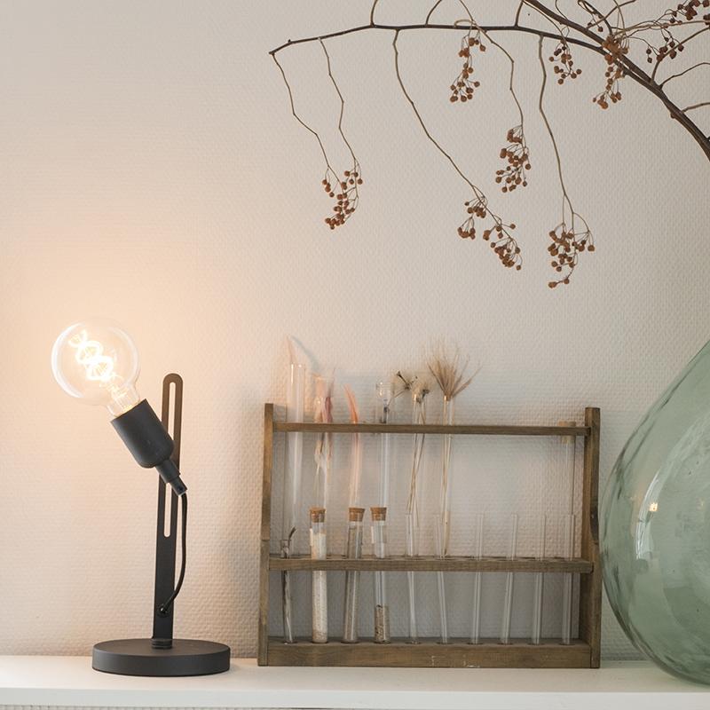Moderne strakke tafellamp zwart - Slide