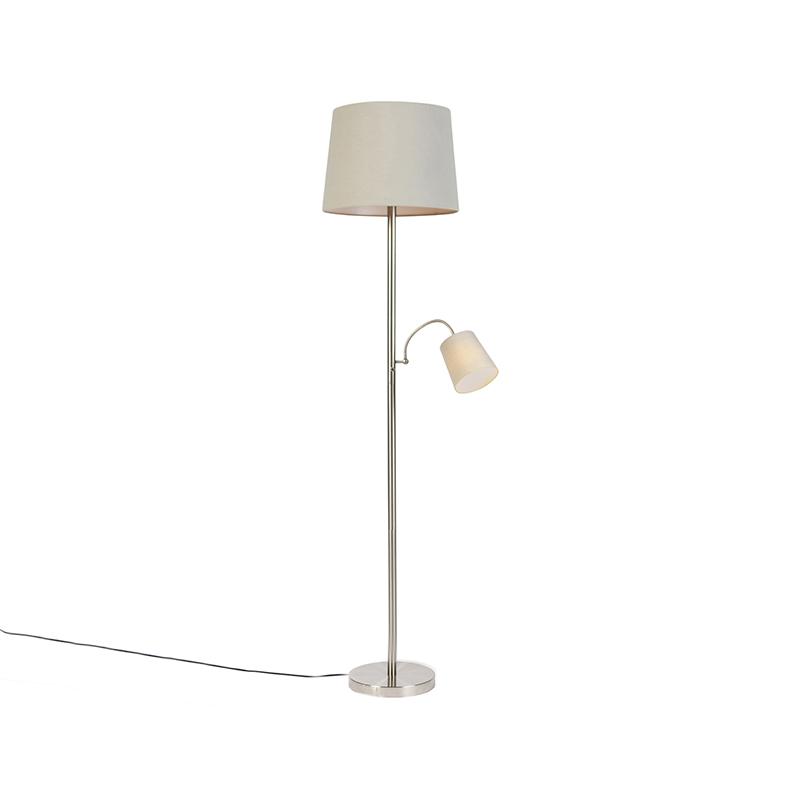Klasyczna lampa podłogowa stal klosz szary z elastycznym ramieniem - Retro