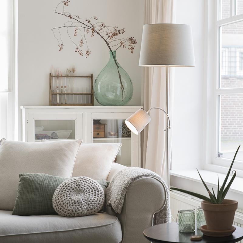Klassieke vloerlamp staal met grijze kap en leeslampje - Retro