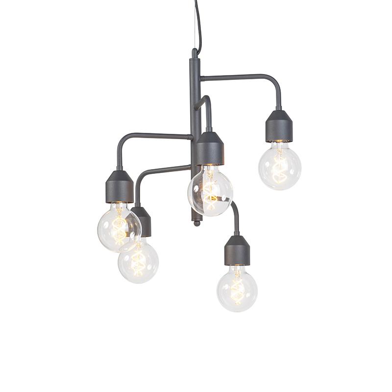 Przemysłowa lampa wisząca czarna 5 lamp - Darren