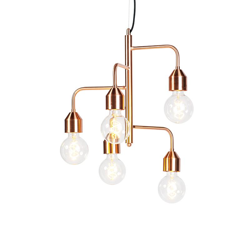 Przemysłowa lampa wisząca miedziana 5 lamp - Darren