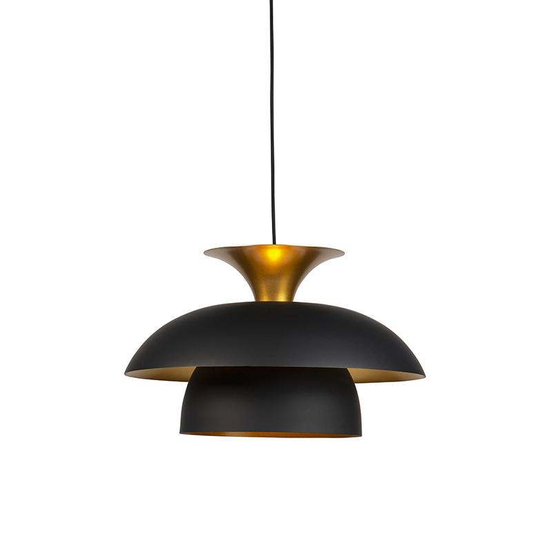 Nowoczesna lampa wisząca okrągła czarna ze złotym 3-warstwy - Titus