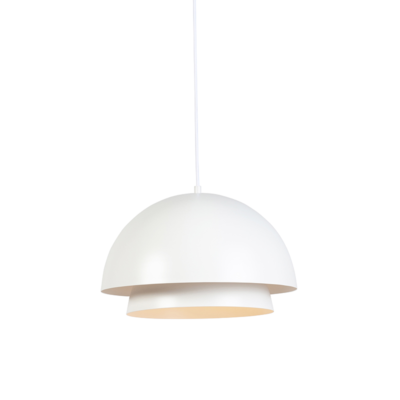 Moderne ronde hanglamp wit 2-laags - Claudius