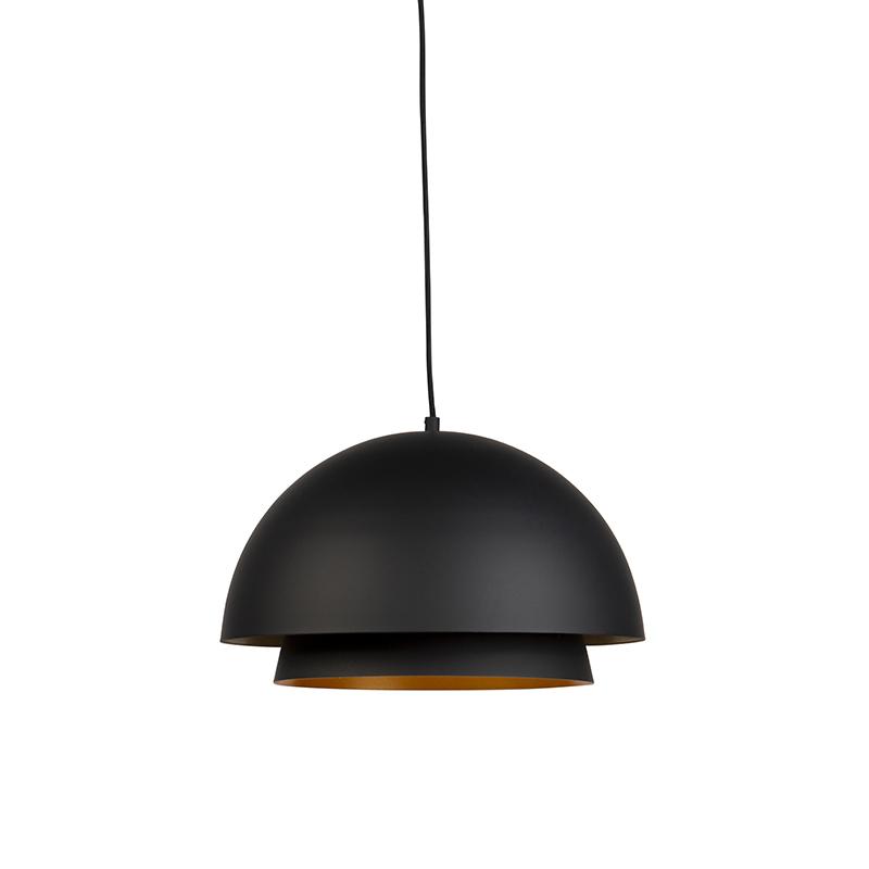 Moderne ronde hanglamp zwart met goud 2-laags - Claudius