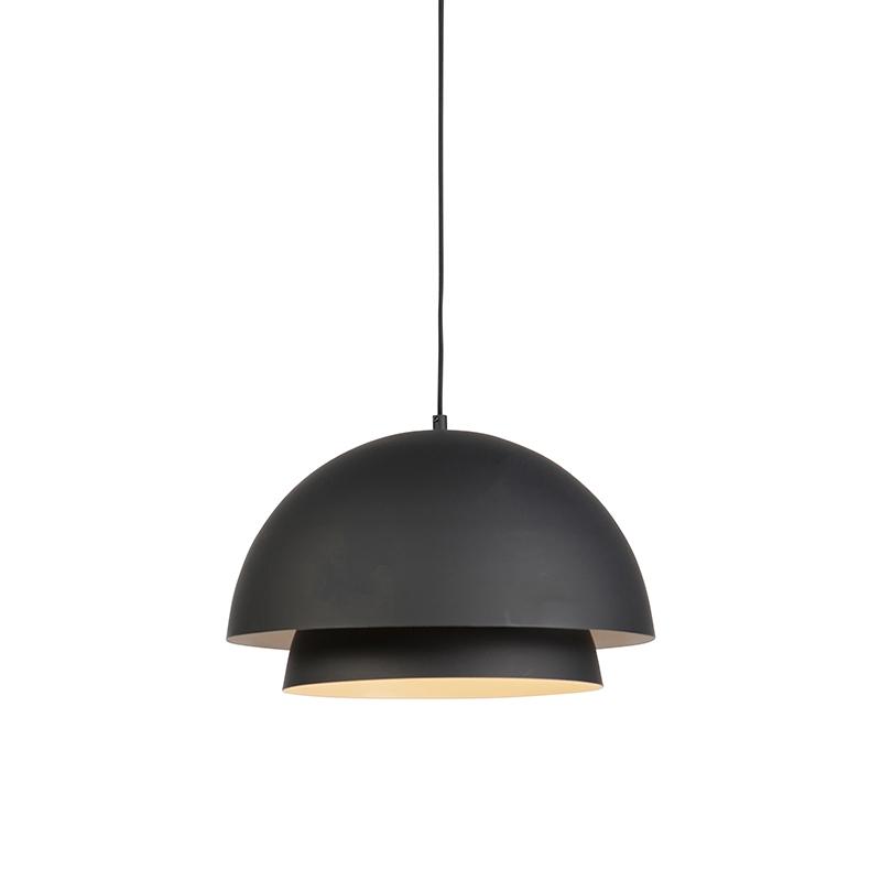 Moderne ronde hanglamp zwart met wit 2-laags - Claudius