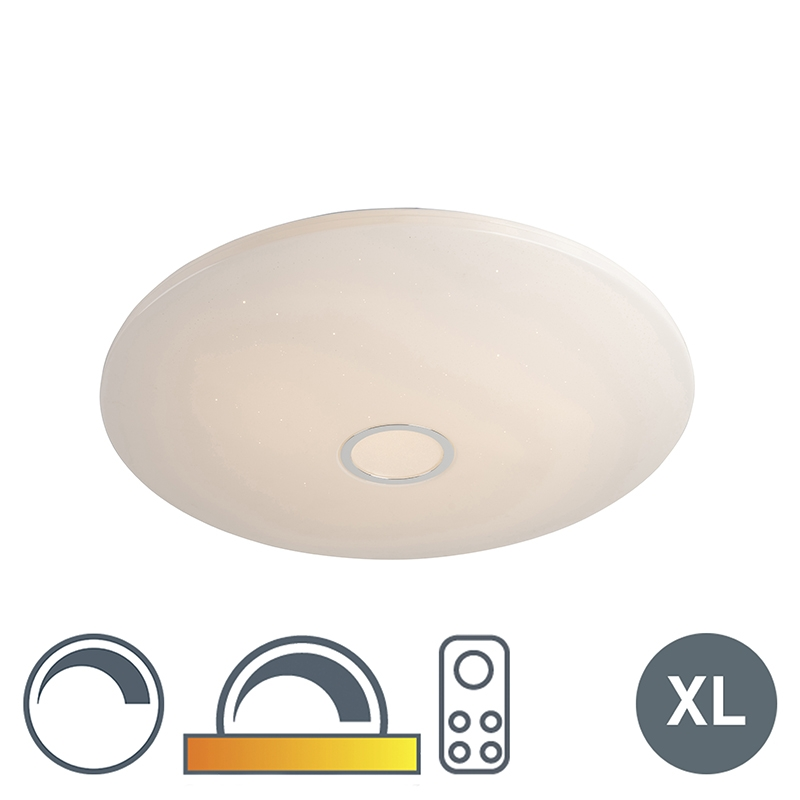 Plafondlamp Wit Met Sterrenhemel 80cm Incl. Led 80w Met Afstandsbediening - Jona