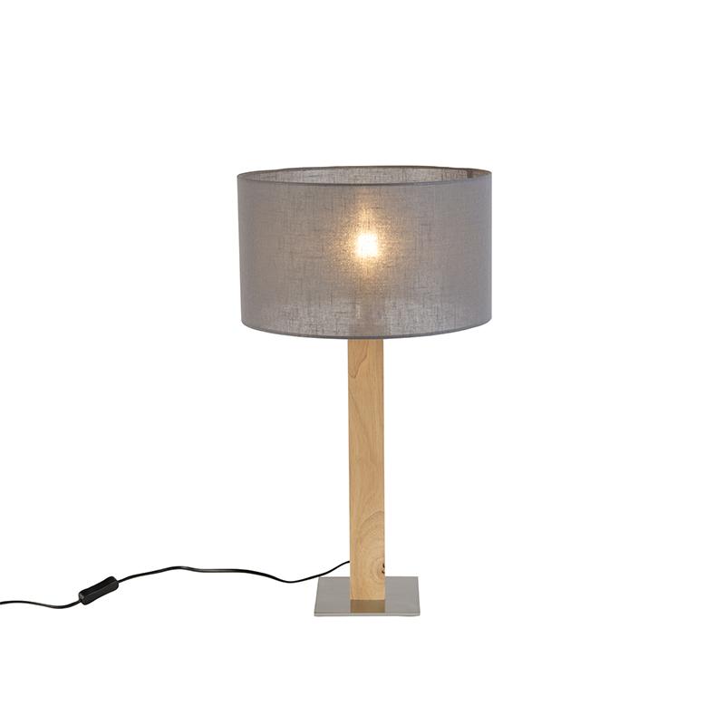 Landelijke rechte tafellamp hout met donker grijze kap 35cm - Pillar