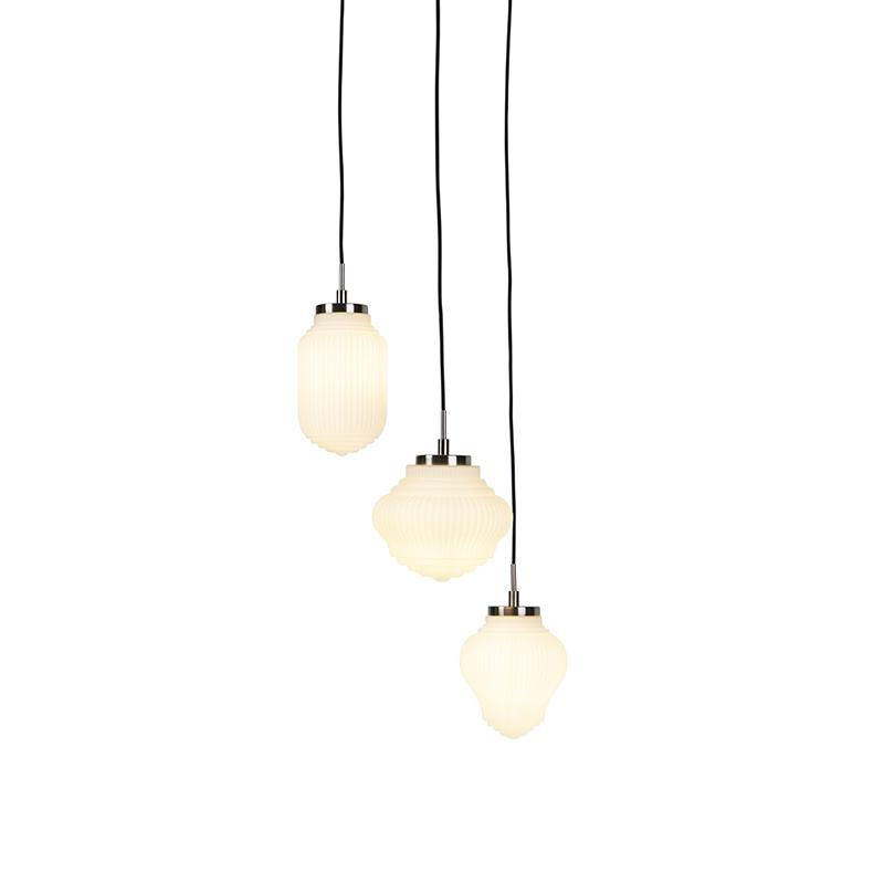 Lampa wisząca art deco stal mleczne szkło 3-źródła światła - Bolsena