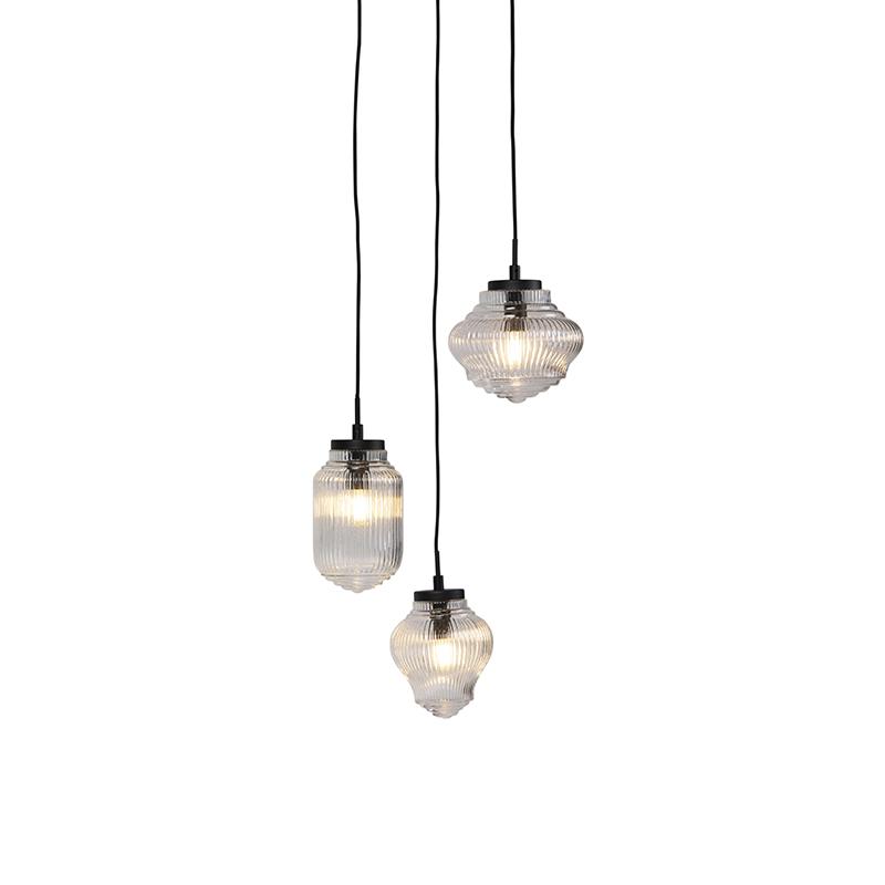 Art Deco hanglamp zwart met helder glas 3-lichts - Bolsena