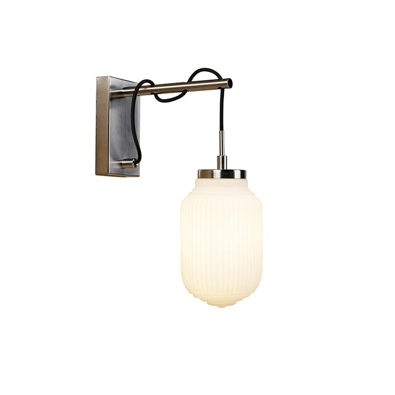 Art deco wandlamp staal met opaal glas - Bolsena